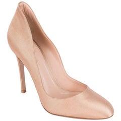 Gianvito Rossi Satin Canvas Praline Pink Almond Toe Heel Pumps