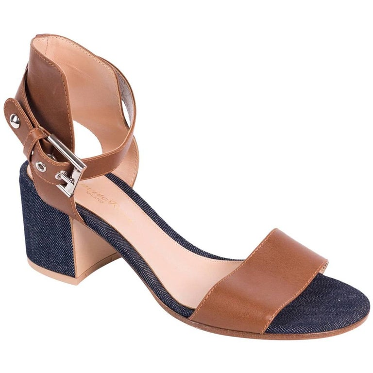 c63f094f04e Gianvito Rossi Brown Denim Ankle Strap Buckled Sandal Heels For Sale ...
