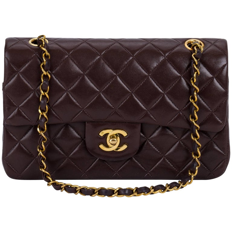 "Chanel 9"" Brown Classic Double Flap Bag"