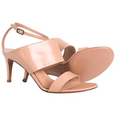 Gianvito Rossi Nude Leather Ankle Strap Mule Sandal Heels