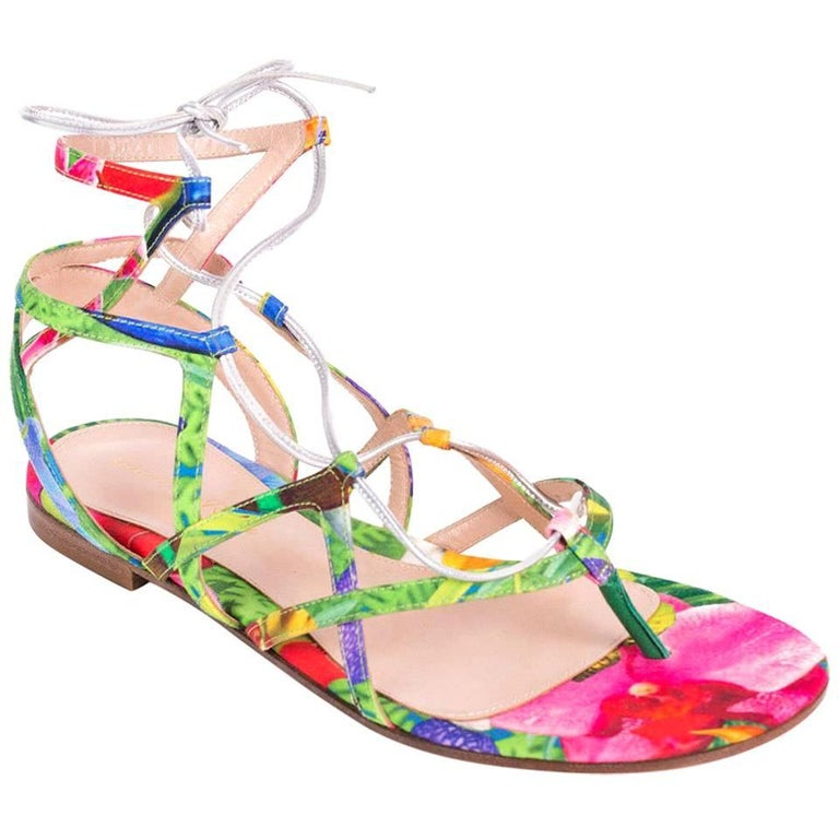 Gianvito Rossi Floral Multi Canvas Metallic Strap Caged Sandal