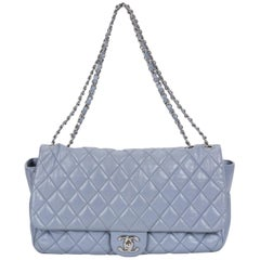 Limited Edition Chanel Maxi Grey Rain Jacket Flap Bag