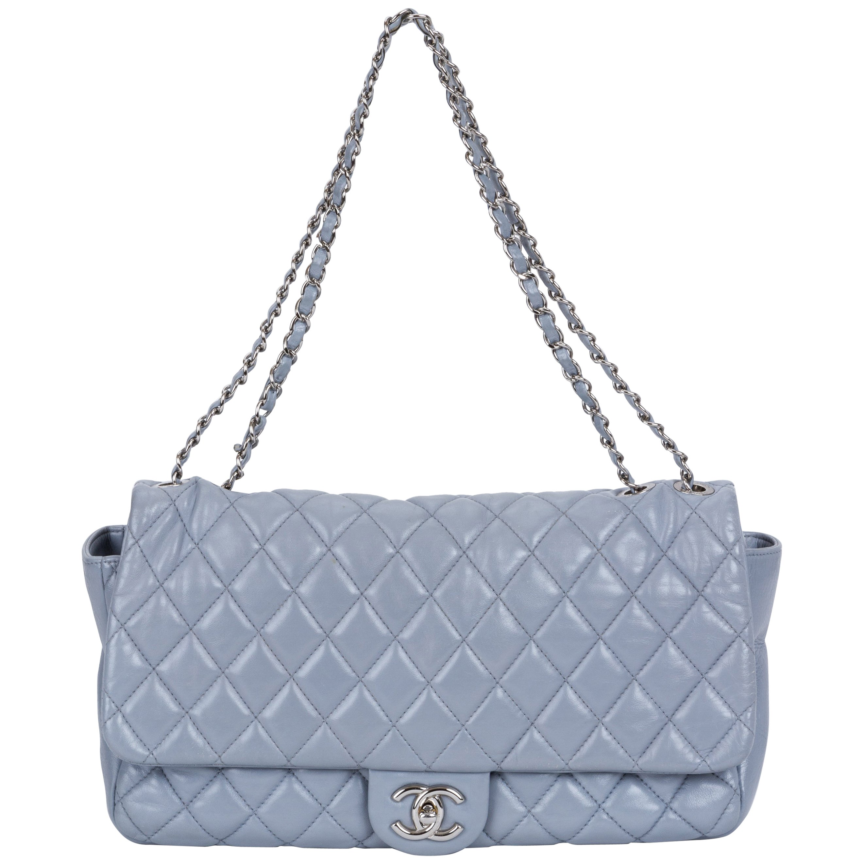 Limited Edition Chanel Maxi Grey Rain Jacket Flap Bag