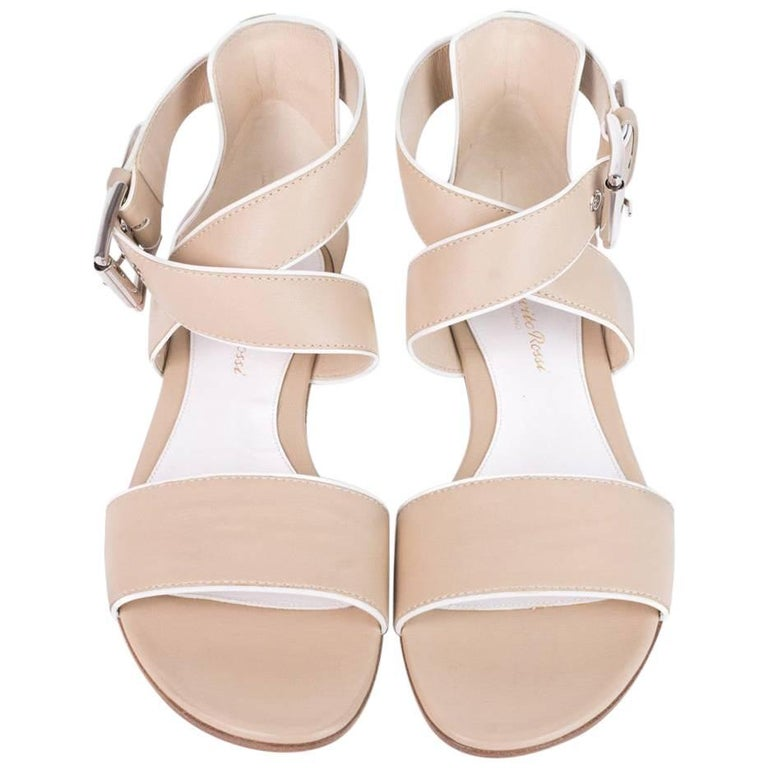 Gianvito Rossi Beige Piped Leather Crisscross Buckle Sandals