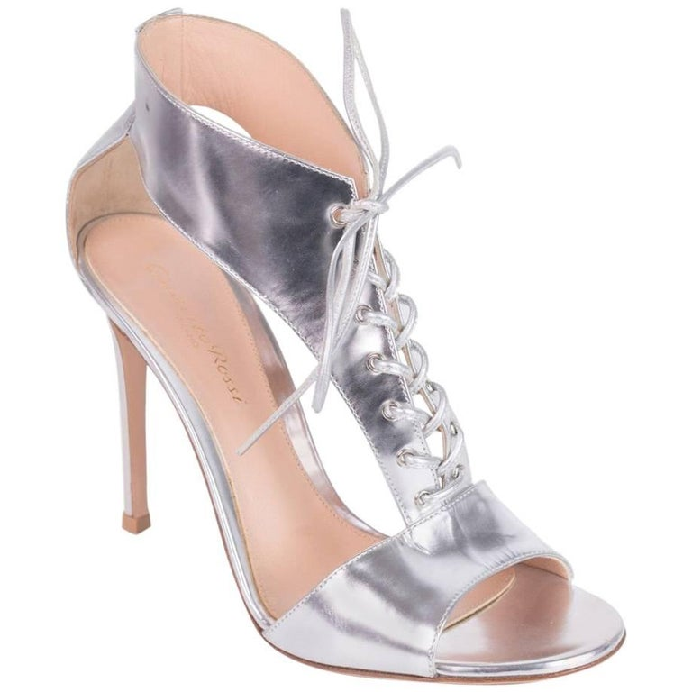 c523fc98520 Gianvito Rossi Womens Metallic Silver Sandals Heels Pumps For Sale ...