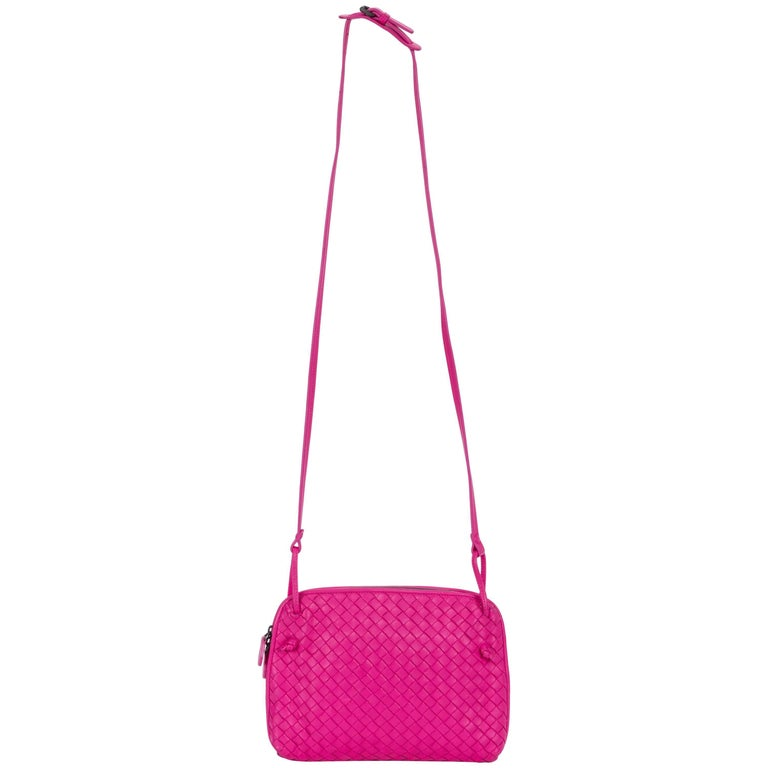 Bottega Veneta Fuchsia Woven Crossbody Bag