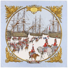 "HERMES Philippe Ledoux ""Marine et Cavalerie"" Sky Blue Military Print Silk Scarf"