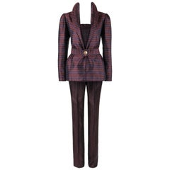 Couture IRENE GALITZINE c.1960's 3 Pc Silk Brocade Belted Blazer Jumpsuit Suit