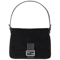 "FENDI ""Forever Mama"" Black Suede Leather Flap Top Zucca Closure Handbag Purse"