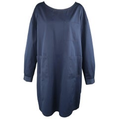 DRIES VAN NOTEN Size S Navy Cotton Long Sleeve Oversized Shirt Dress