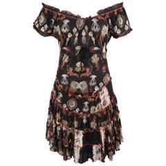 Jean Paul Gaultier Black Jellyfish Print Mesh Ruffle Skirt Dress
