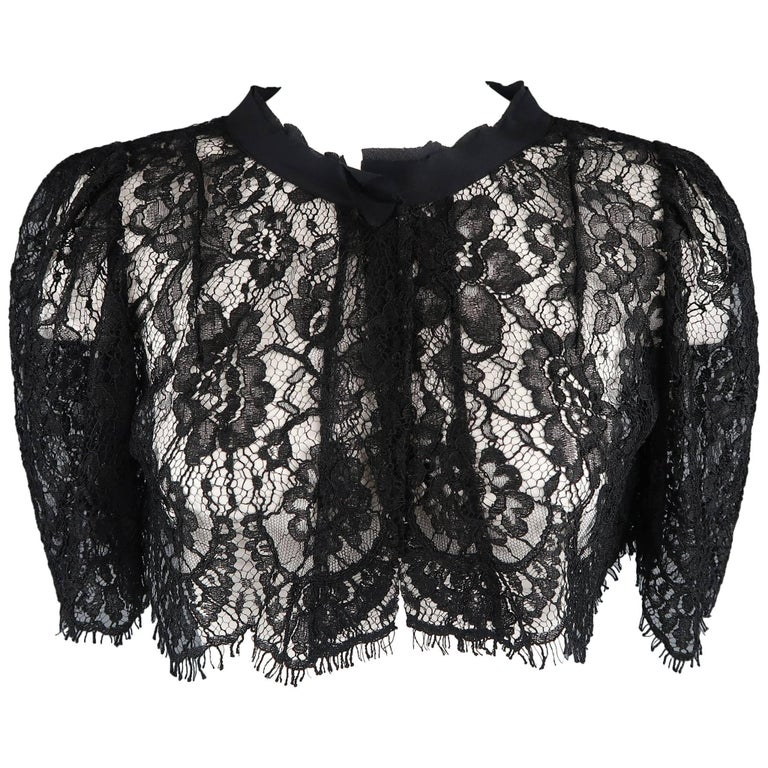 DOLCE & GABBANA Size 6 Black Lace Short Puff Sleeved Capelet Bolero