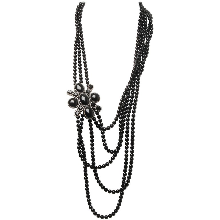 2d2542cf1fcd Chanel 2005 Multi-Strand Black Jet Bead Necklace For Sale at 1stdibs