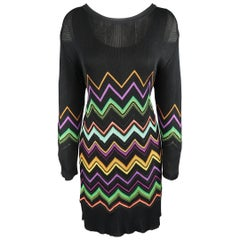 MISSONI Size L Black Multi-Color Chevron Silk Knit Long Sleeve Scrrop Neck Dress