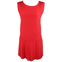 MOSCHINO Size 8 Red Silk Pleated Drop Waist Sleeveless Shift Dress