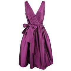 BADGLEY MISCHKA Size 6 Purple Silk Taffeta Sleeveless V Neck Cocktail Dress