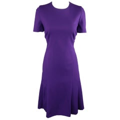AKRIS Size 8 Purple Viscose Blend Jersey Short Sleeve Dress