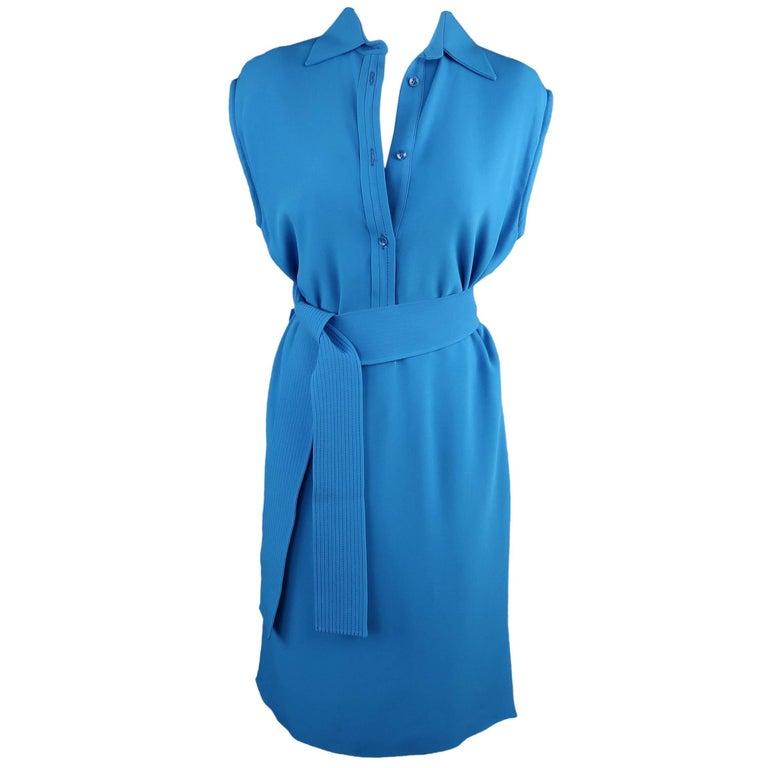 ETRO Dress - Size 4 Aqua Blue SLeeveless Half Button Sash Belt Dress