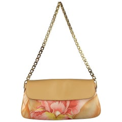 SALVATORE FERRAGAMO HandbagTan Leather & Pink Floral Silk Shoulder Bag
