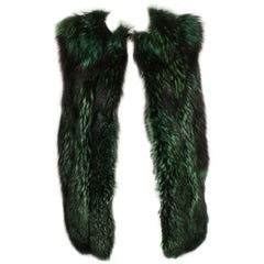 Green And Black Fur Sleeveless Vest