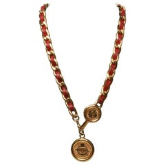 Chanel Vintage Threaded Chain and Coin Pendant Necklace