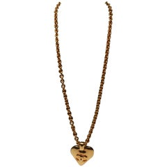 Chanel Love Heart Charm Pendant Necklace