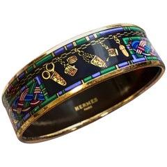 Vintage Hermes golden enamel, cloisonne bangle, bracelet. Multicolor.