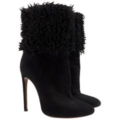 Alaia Black Suede Fringed Heeled Boots - EU Size 38