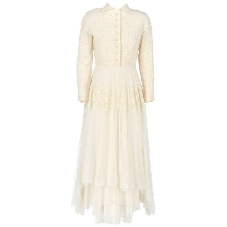 White Lace Vintage Wedding Dress 1950s For Sale At 1stdibs