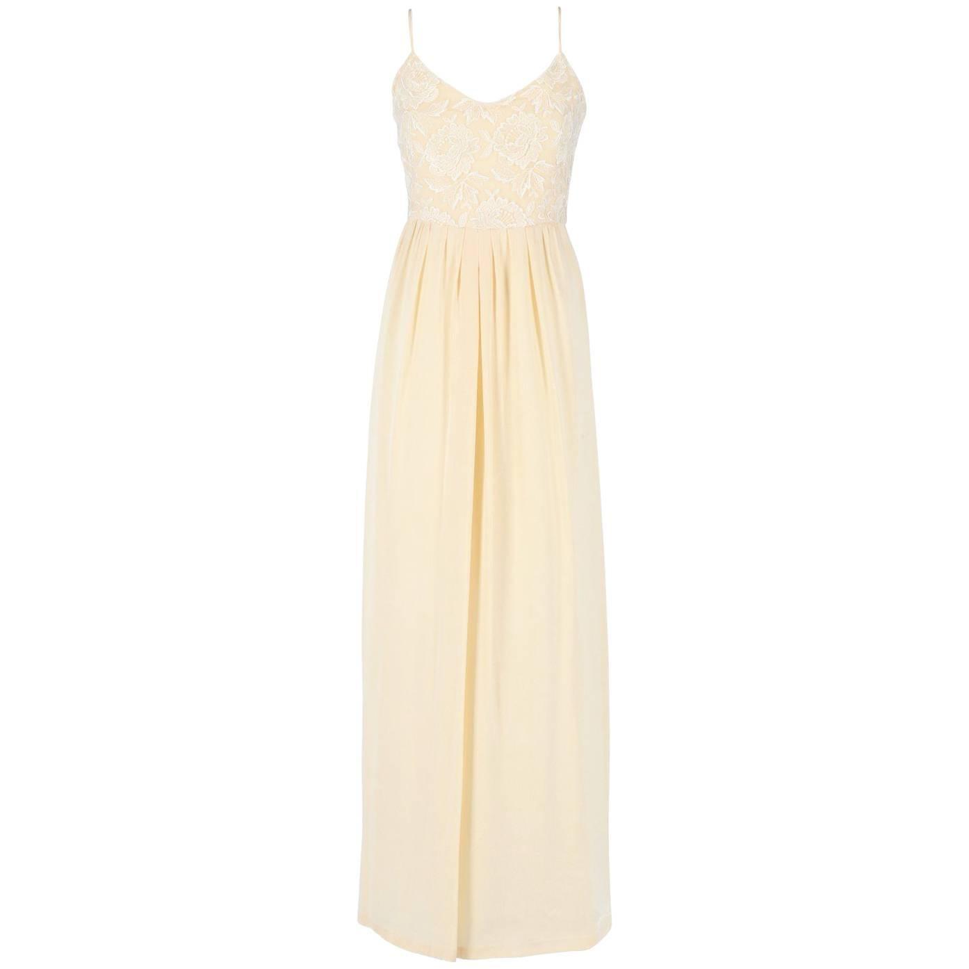 Custard Silk Vintage Wedding Dress, 1960s