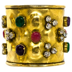 Chanel Vintage Quilted Goldtone Cuff  Bracelet with Multi-Color Gripoix Stones