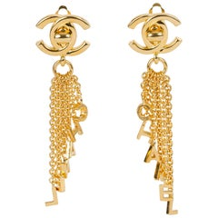 1990's Rare Chanel Lettering CC Dangle Earrings