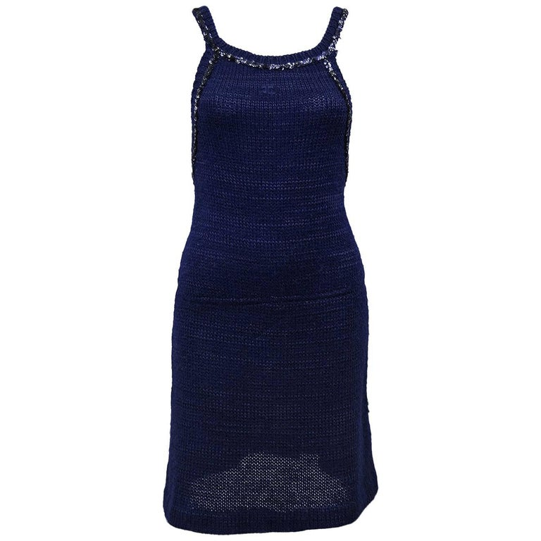 1970s Courreges Navy Blue Knit Halter Dress with Sequin Trim