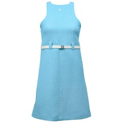 1960s Courreges Baby Blue Cotton Ribbed Day Dress with White Belt
