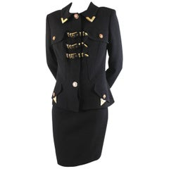 Gianni Versace Couture Wool Buckle Skirt Suit, 1990s