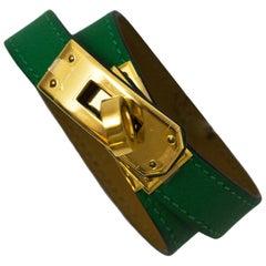 Hermes Green & Goldtone Kelly Double Tour Bracelet Sz XS with Dust Bag