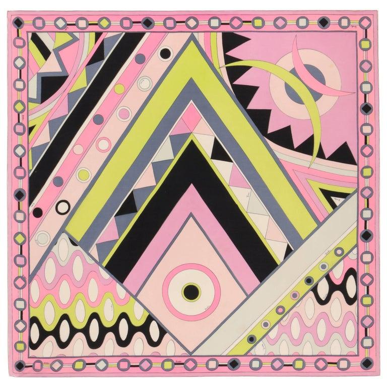 "EMILIO PUCCI c.1970's ""Vivara"" Signature Print Pink Multicolor Op Art Silk Scarf"