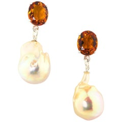 6 Carats of Citrines and Dangling Pearl Sterling Silver Stud Earrings
