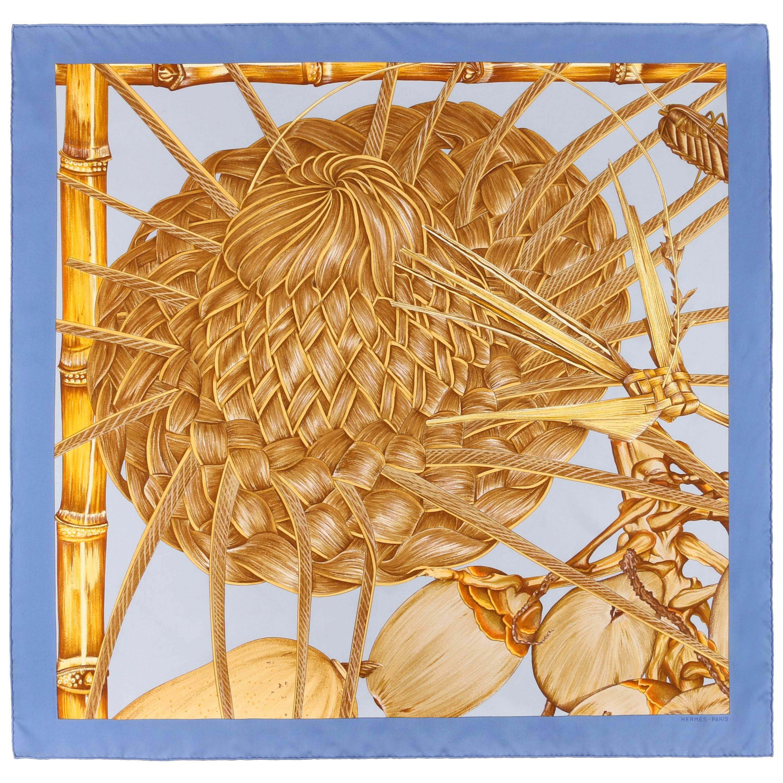 """HERMES c.2001 Valerie Dawlat-Dumoulin """"Jardin Creole"""" Blue Silk Scarf"""