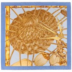 """HERMES c.2001 Valerie Dawlat-Dumoulin """"Jardin Creole (Detail)"""" Blue Silk Scarf"""