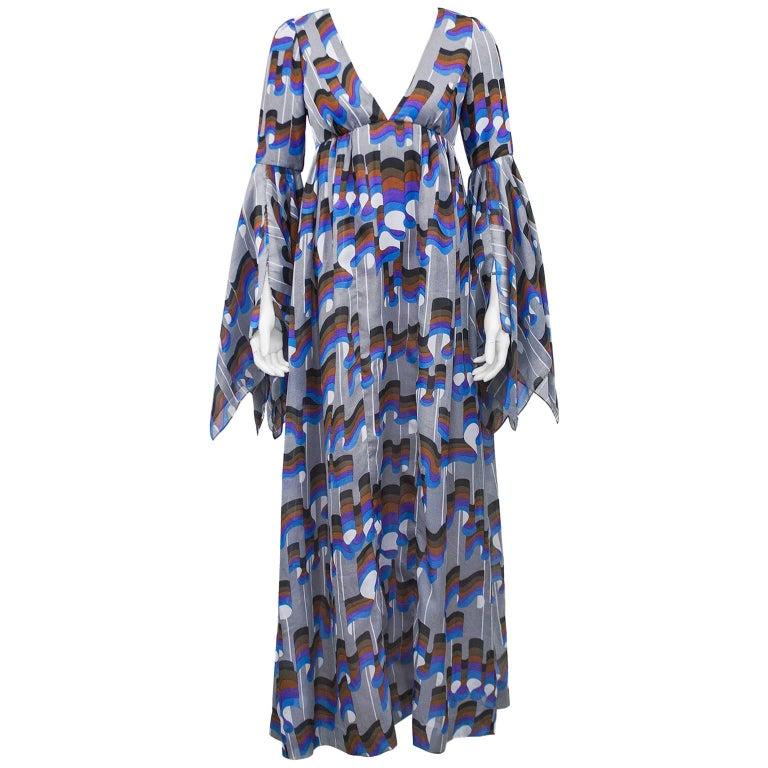 Early 1970s Jean Varon Grey Cotton Boho Gown