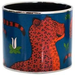 Hermes Blue & Orange Extra Wide Enamel Les Leopards Bangle Bracelet Sz 65