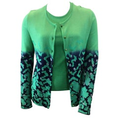 Oscar de la Renta Two Piece Green Sweater Set