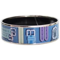 Hermes Blue Harnais des Presidents Wide Enamel Bangle Sz 65 with DB