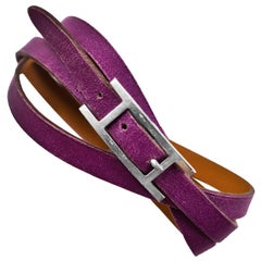 Hermes Purple Leather Be Hapi Triple Tour Bracelet