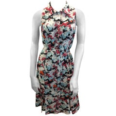 Carolina Herrera Print Button Down Silk Dress