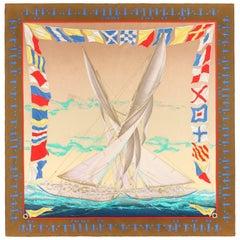 "HERMES c.1989 Yannick Manier ""En Course"" Nautical Sailing Race Print Silk Scarf"