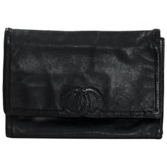 Chanel Vintage Black Lambskin & Lizard XL CC Clutch Bag