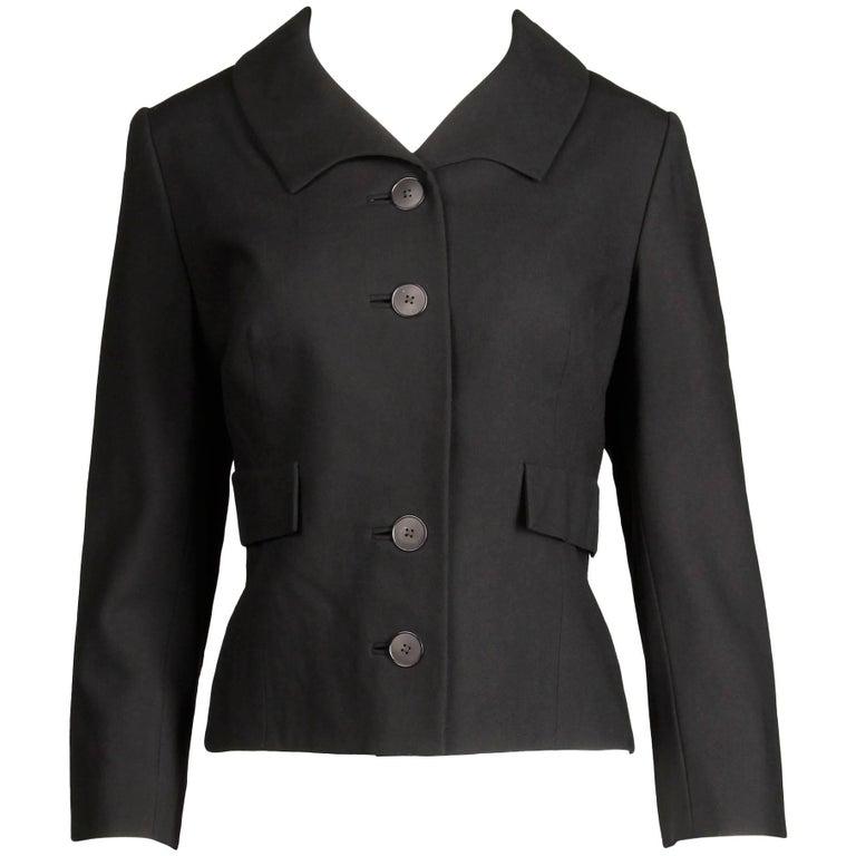 Pristine 1950s Irene Lentz Vintage Black Wool Blazer or Suit Jacket
