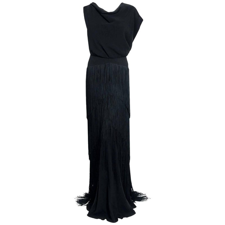 492f72a0327 1930 s House Of Tappé Couture Black Crepe Asymmetric Drape Fringe Evening  Gown For Sale